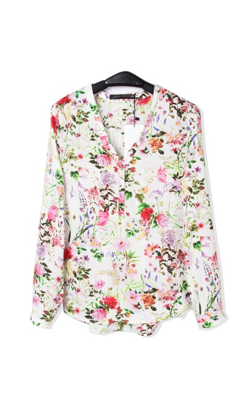 V-neck Long Sleeves Chiffon Floral Blouse