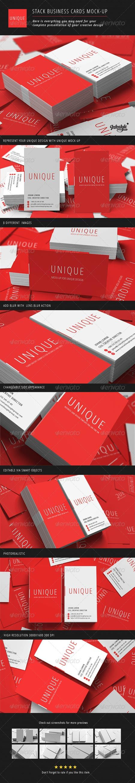 GraphicRiver Stack Business Cards Mock-Up 3063488