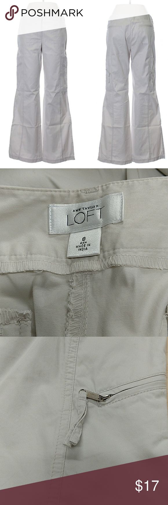 "Ann Taylor Baggy Cargo Pants Excellent condition. 32"" waist, 30"" inseam, zipper leg pockets. 100% cotton, mid rise, off white/light putty color. All pictures are of the actual item that you will receive. Smoke-free home. LOFT Pants Wide Leg"