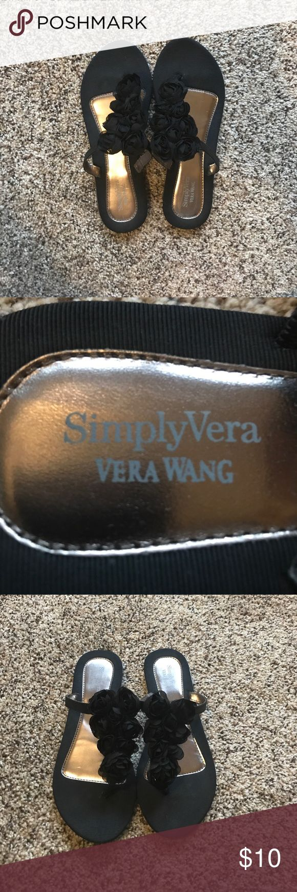 SimplyVera by Vera Wang flip flops Vera Wang dressy flip flops with flowers. Brand new, never been worn. Simply Vera Vera Wang Shoes Sandals