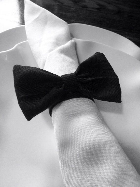 25 Black Bow Tie Wedding Napkin Rings by ReThinkMe on Etsy,