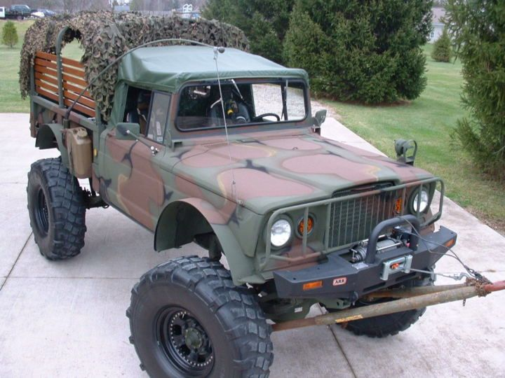 This 1968 Jeep M715 (chassis 22200) is a completely refurbished and heavily modified version of the Kaiser-designed US Army workhorse. Power comes from a 502 Chevy crate motor, and despite the large tires and tall suspension, the owner says that it drives very well on the road. Find it here on eBay