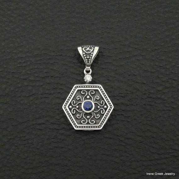 Saphir Cz pendentif Style byzantin 925 argent Sterling grec à