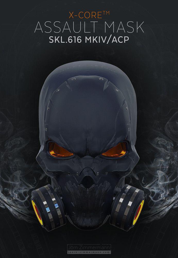 Tactical Assault Mask Concept, Joern Zimmermann on ArtStation at https://www.artstation.com/artwork/rDdZL