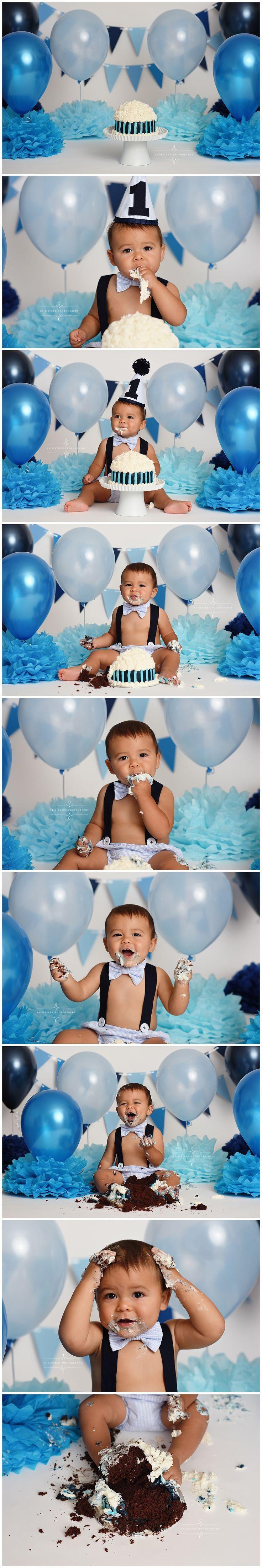 cake smash session, baby, boy, first birthday, hat, one, smashing, cake, balloons, banner, inspiration, ideas, setup, blue, navy, white, 11 Sixteen Photography, studio, professional, virginia, richmond