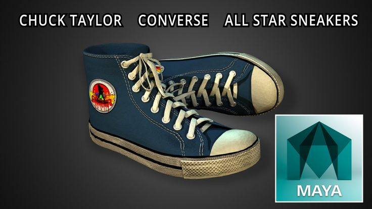 Autodesk Maya 2016 Chuck Taylor Converse All Star Sneakers 3D Model (Fre...
