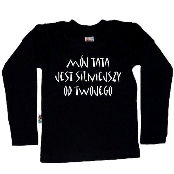 Koszulka dziecięca z długim rękawkiem - mój tata jest silniejszy z FamilyInBlack.pl