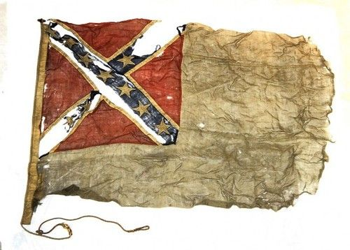 A Confederate naval flag taken from a Confederate gunboat by a Union army lieutenant after the fall of Richmond in April 1865.