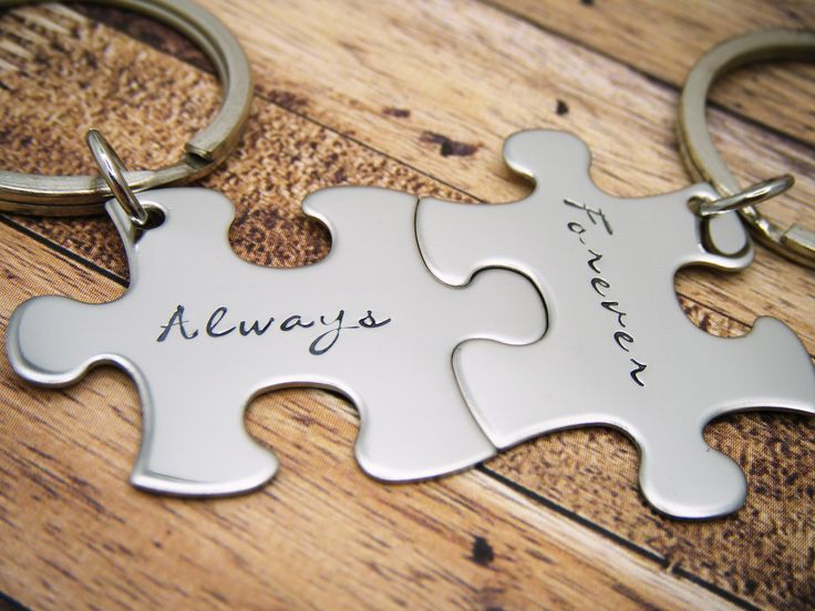 Great Gifts For Your Wife For Christmas Part - 37: Always Forever Keychains In Cursive Script Font, Couples Keychains