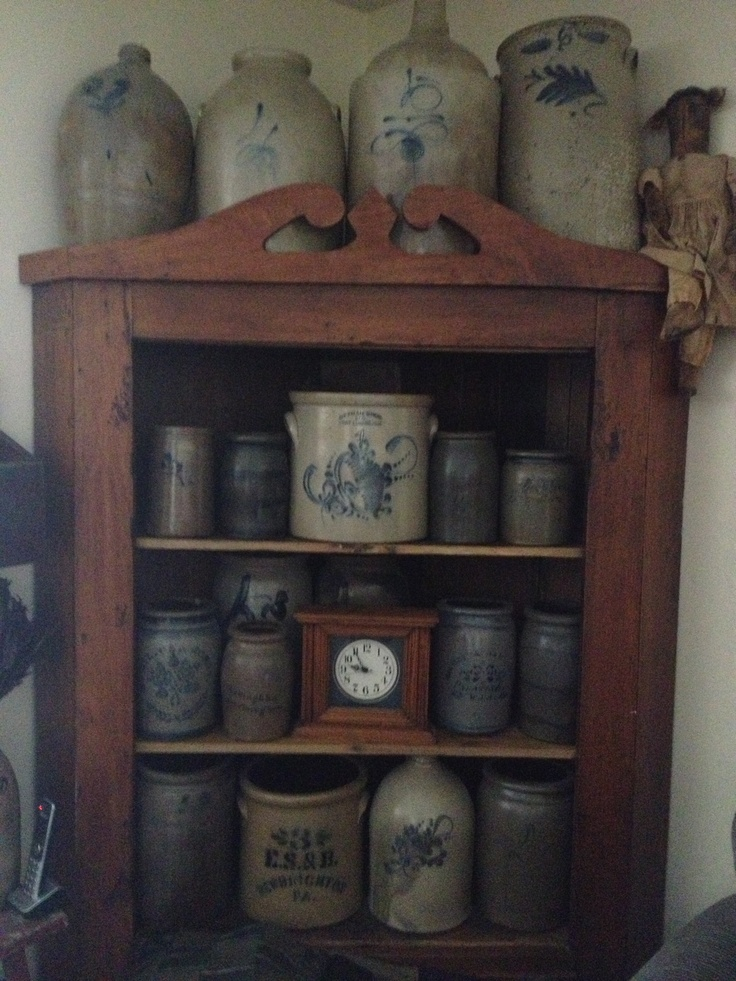 Collection of Crocks ~ Beautiful antique crocks for a classic country and Early American design touch.