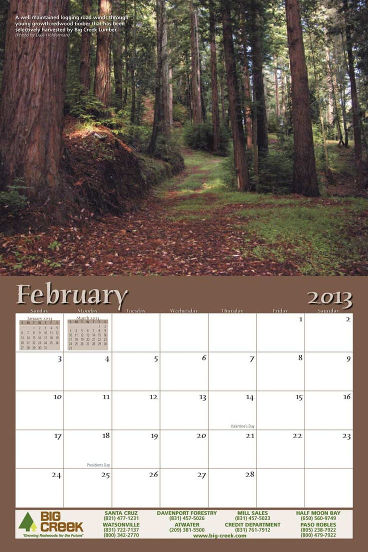 Big Creek Lumber's 2013 calendar features photos of the beautiful scenery near Davenport, CA. It also includes several photos that document the compay's long history. #business #promotional #calendar www.yearbox.com