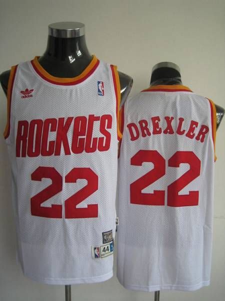 Mitchell and Ness Rockets  22 Clyde Drexler Stitched White Throwback NBA  Jersey bd00cec16