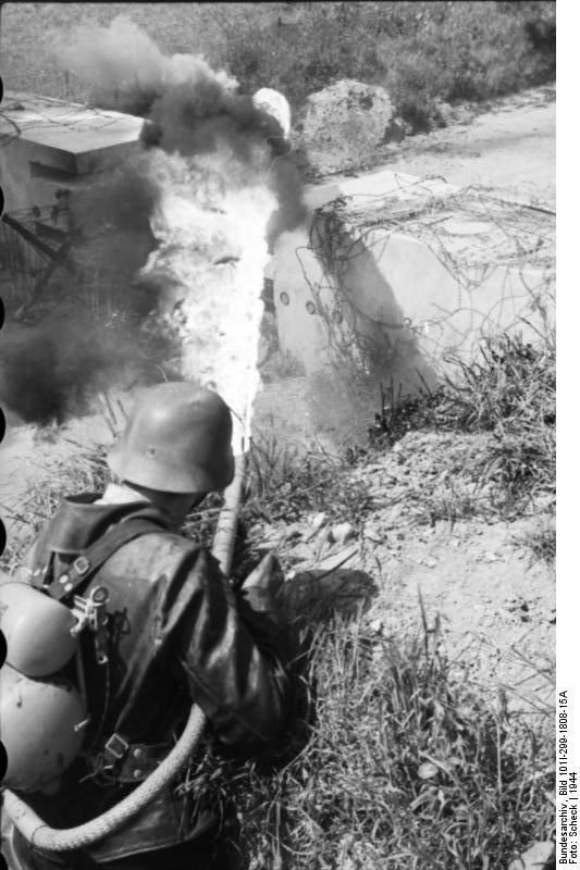 German soldier with flame-thrower. North France 1944