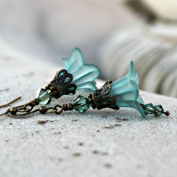 Frosted Teal Bohemian Flower Earrings Swarovski by LunarBelle