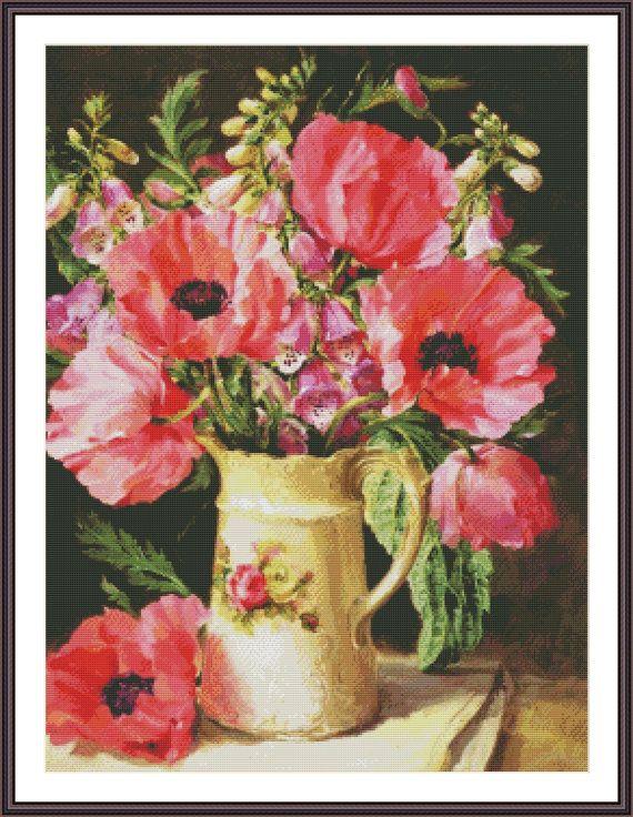 Cross Stitch Pattern Floral Design Oriental by ZAnnaCrossStitch