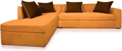 Dolphin Fabric 3 + 2 Orange-Brown Sofa Set(Configuration - L-shaped)