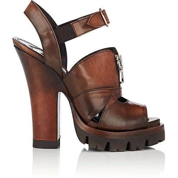85027ef064e Prada Women s Teak Leather Platform Sandals ( 739) ❤ liked on Polyvore  featuring shoes