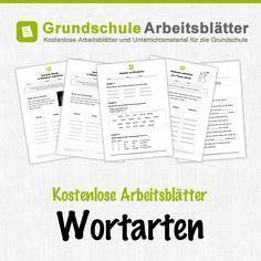Kostenlose Arbeitsblätter und Unterrichtsmaterial für den Deutsch-Unterricht zum Thema Wortarten in der Grundschule.