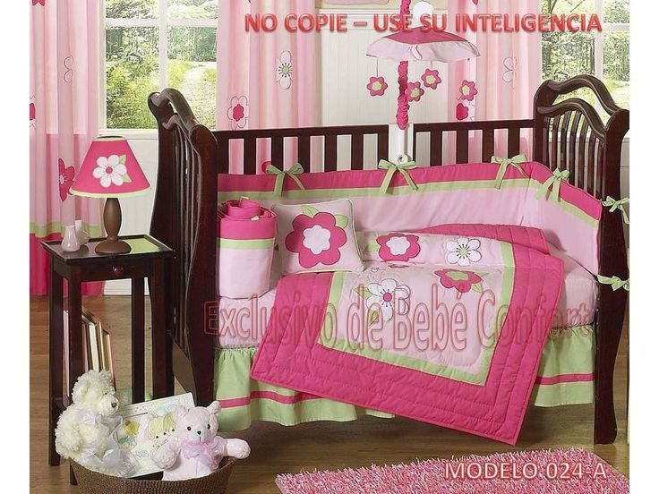 flower pink and green baby crib bedding set by jojo designs