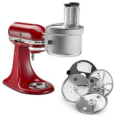Effortlessly slice, shred, julienne and dice ingredients using your KitchenAid Stand Mixer with this convenient food processor attachment. It features an ExactSlice™ system plus a 2-in-1 Wide Mouth Feed Tube to process various sizes of foods.