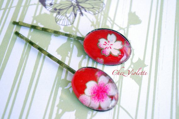 bobby pin set red Bobby pins floral blossom hair by chezviolette ♥♥♥ www.pinterest.com/cocoflower ♥♥♥