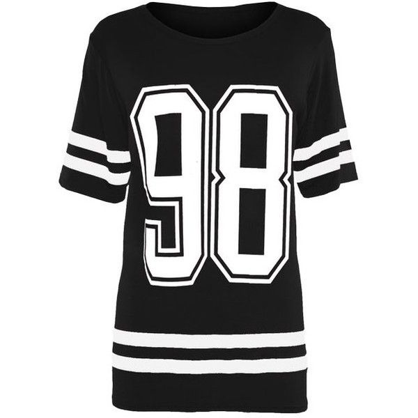 Womens Ladies Bulls 69 Brooklyn 76 New York 98 Print Jersey T Shirt... ($6.01) ❤ liked on Polyvore featuring tops, t-shirts, womens plus size t shirts, jersey tee, women plus size tops, plus size tops and pattern tops
