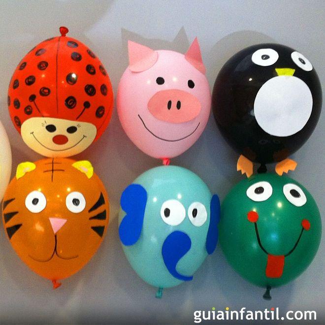 Manualidades sencillas para decorar globos con formas de animales con los niños. Decoración de globos para fiestas infantiles o pasar un rato en familia. Cómo decorar globos para jugar con los niños.