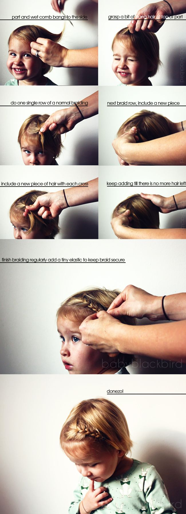 little girl hair tutorial, little girl bang braid, step by step girls bang braid