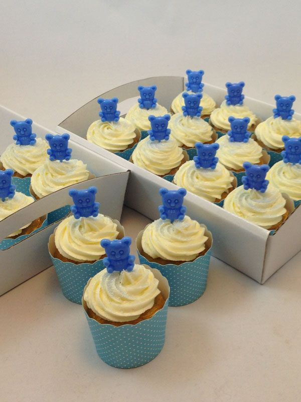Blue Teddy Bear Cupcake Kit. Click here http://www.icingonthecakekits.com/item_134/Blue-Teddy-Bear-Cupcake-Kit.htm $39.95