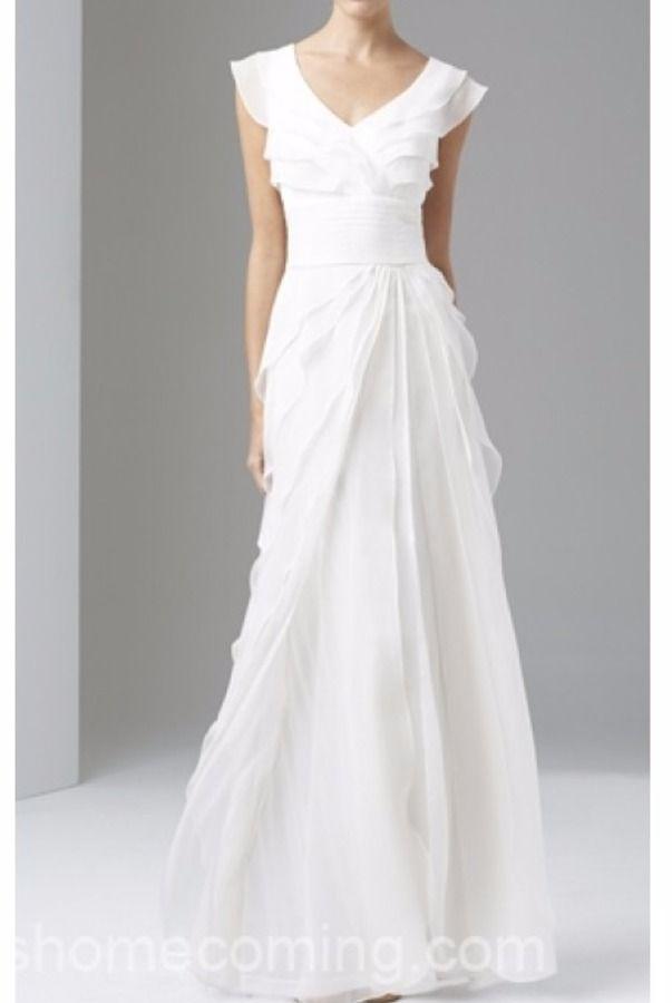 Adrianna Papell Tiered Silk Chiffon Wedding Gown Ivory White