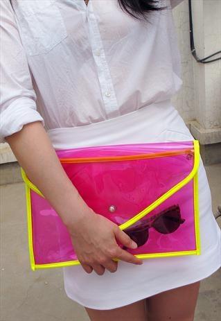 Oversize Clear Envelope Clutch Purse / Rose Pink Transparen from  EastWorkshop