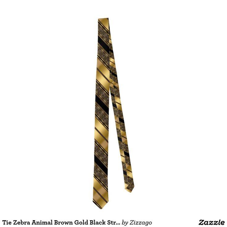 Tie Zebra Animal Brown Gold Black Stripe
