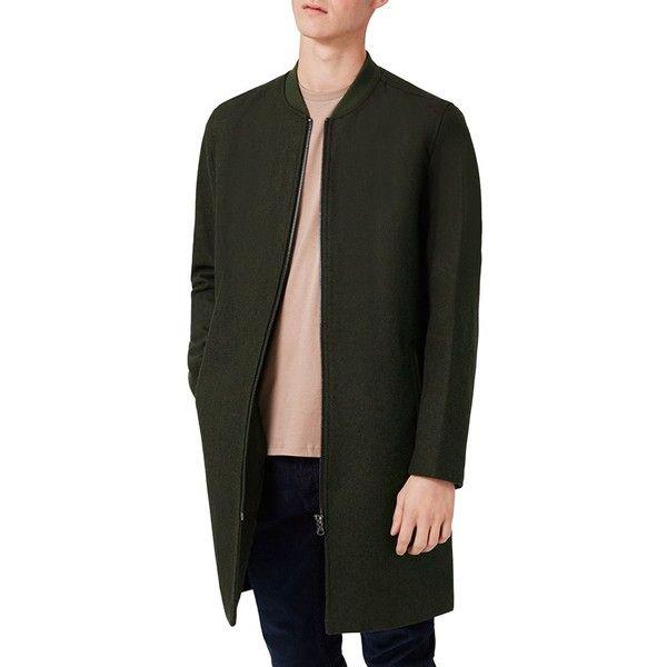 Men's Topman Longline Wool Blend Bomber Jacket ($200) ❤ liked on Polyvore featuring men's fashion, men's clothing, men's outerwear, men's jackets, olive, mens olive jacket, mens olive green bomber jacket, mens olive bomber jacket and mens olive green jacket