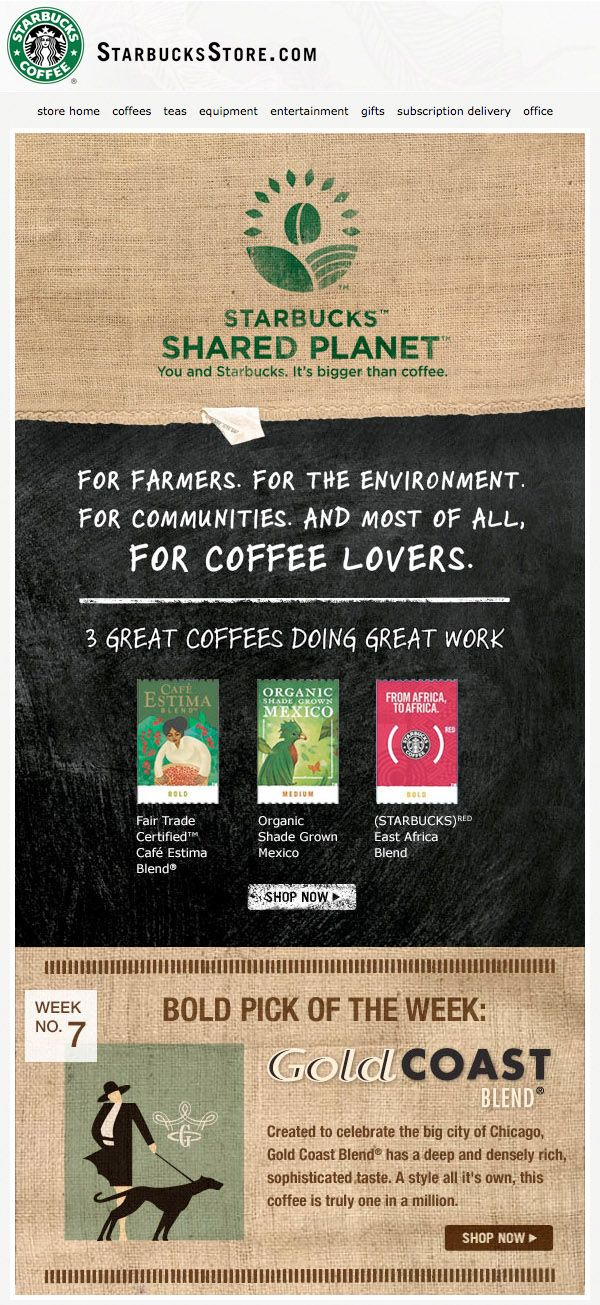 Starbucks Earth Day email.