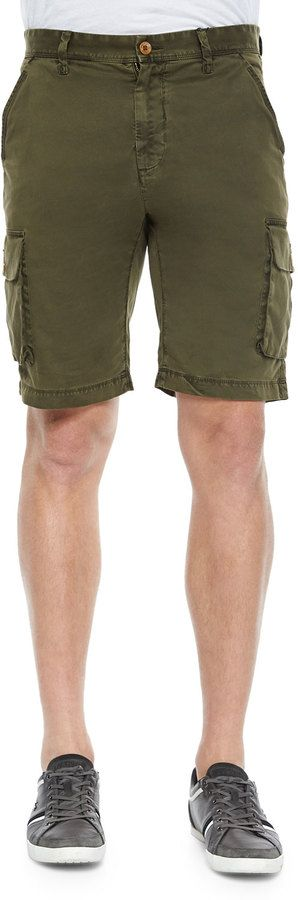 $128, Olive Shorts: Robert Graham Globetrotter Cargo Shorts Olive. Sold by Neiman Marcus. Click for more info: https://lookastic.com/men/shop_items/211513/redirect