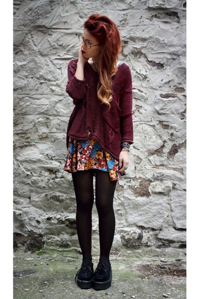 Jumper, dress, tights, creepers- i guess some people find creepers tacky, but i think it's cool. i love pairing mine with girly skirts!