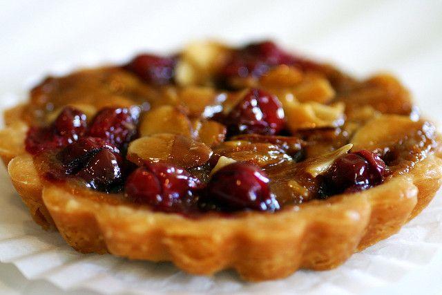 cranberry caramel and almond tart