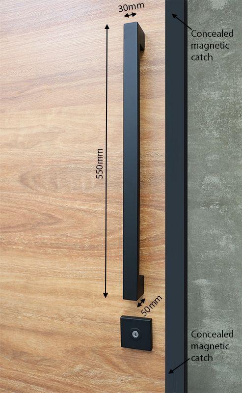 Pull Handle Entrance Set 550mm Matte Black Black