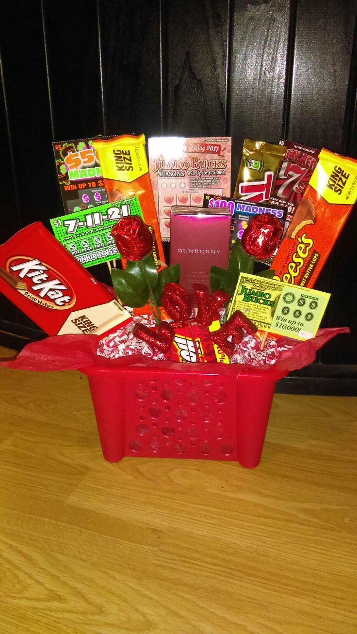 Perfect Valentine's gift for the man in your life, if he's a good one😍 Lottery tickets,candy,cologne,and a basket from dollar tree.