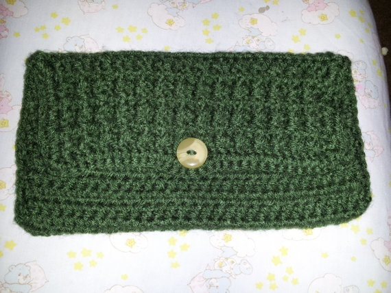 Dark Green Clutch/Large Wallet by MamaKatCrochet on Etsy, $12.50