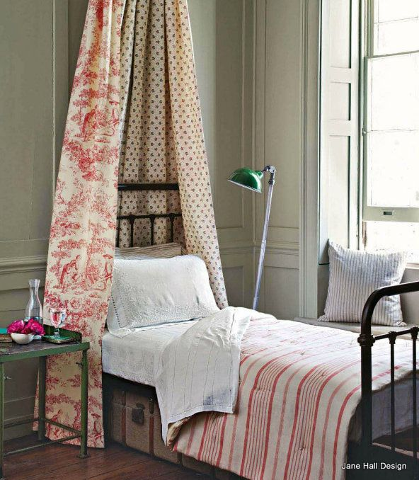Rustic French Country Bedroom With Classic Toile And Stripped Print Fabricfrom Cote Sud Home Decor Magazine From France