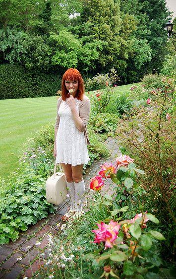 White Lace Peter Pan Dress, Cream Knee High Socks, Two Tone Brogues, Vintage Cream Vanity Case, Taupe Cardigan