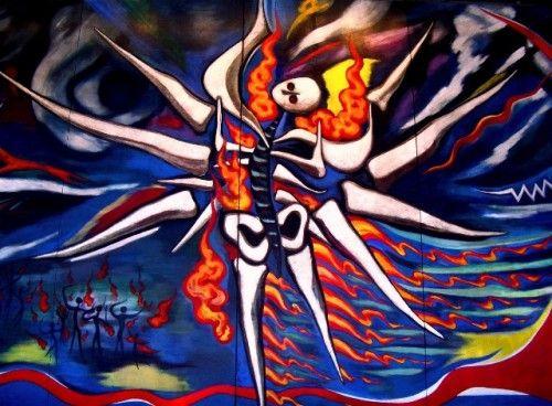 岡本太郎 明日の神話 おどろおどろしく、カオスで、不格好だが、どうしてだろう・・・・カッコイイ。始めてみたとき、この芸術が魅せられた。 初見の感想は、未来という不確実でカオスな世界を力強く闊歩する存在(中央の白い人間みたいなの)と、その存在が発する力強いオーラの軌跡(赤い部分)という風な印象を抱く。