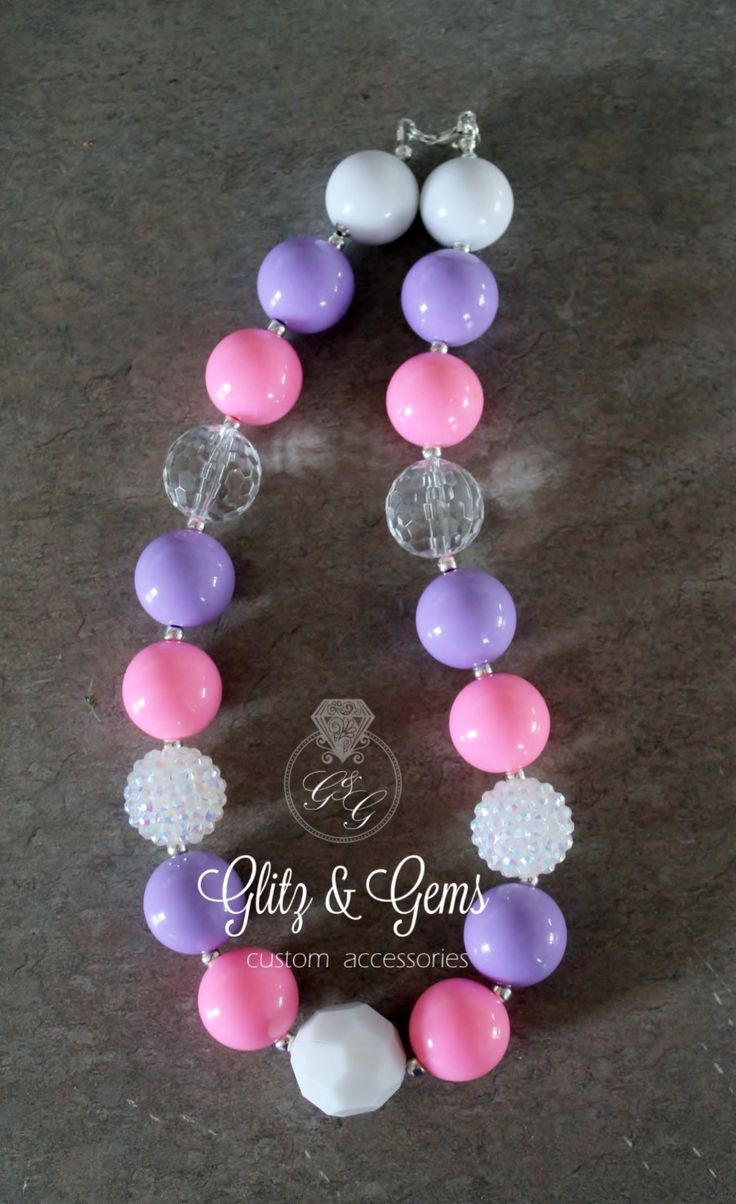 Chunky Bead Bubble Gum Necklace purple white pink rhinestone www.facebook.com/GlitzGems