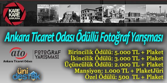 Ankara Ticaret Odası'ndan Ödüllü Fotoğraf Yarışması  Fotoğraf çek 5.000 TL kazan.  http://unidestek.net/ankara-ticaret-odasi-2015-odullu-fotograf-yarismasi/