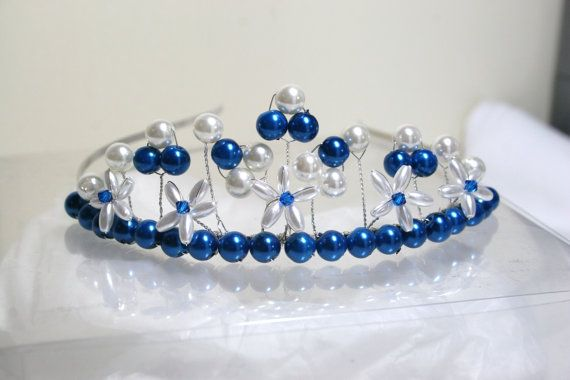 Teal blue and white glass pearl tiara with blue Swarovski crystals.  Perfect for a Bride or Bridesmaid.