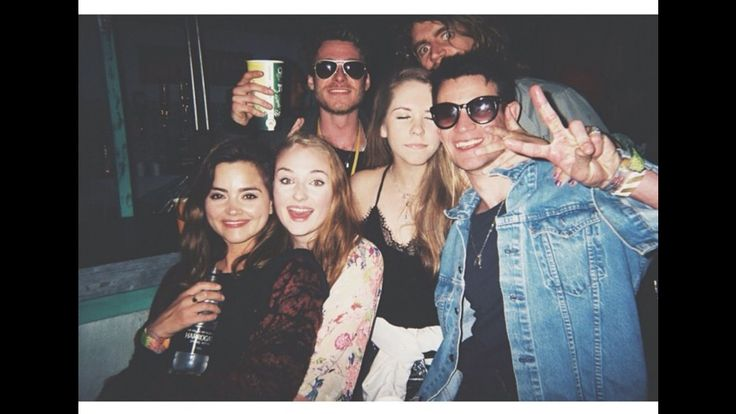 Sophie Turner with Jenna Coleman, Richard Madden, and Matt Smith at Glastonbury.