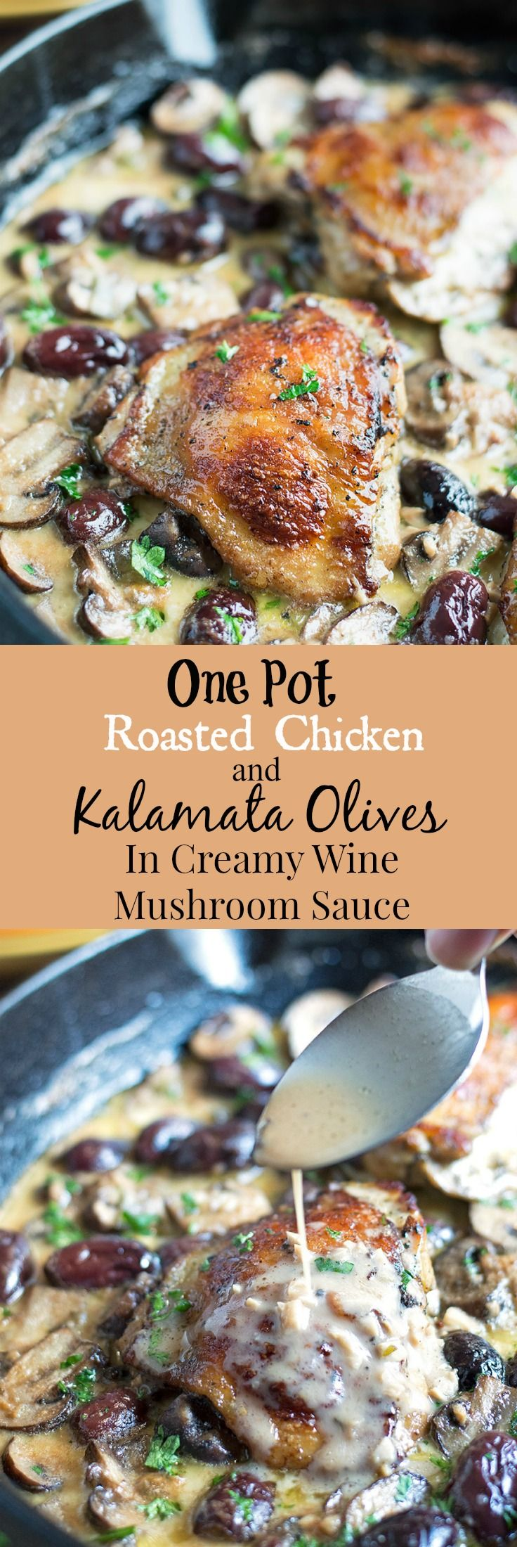 I love one pan chicken dishes.  Especially this Marinated Roasted Chicken in Wine Mushroom Cream Sauce With Kalamata Olives….