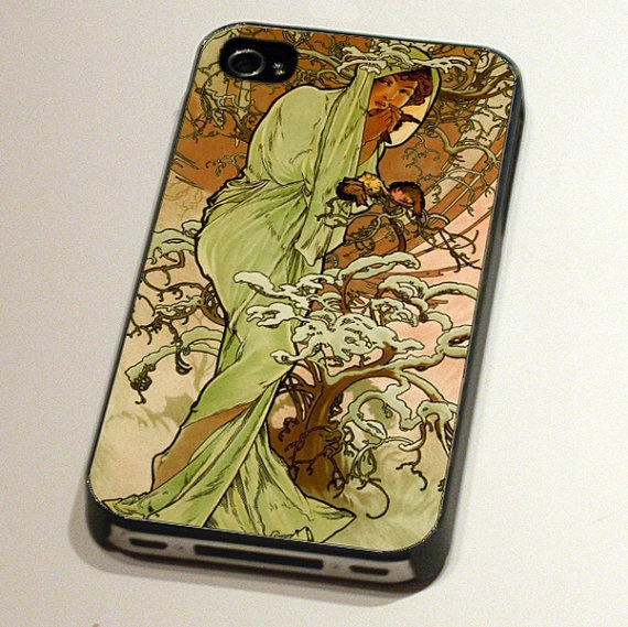 Case for iPhone4 or 4S - Winter from The Seasons by Alphonse Mucha