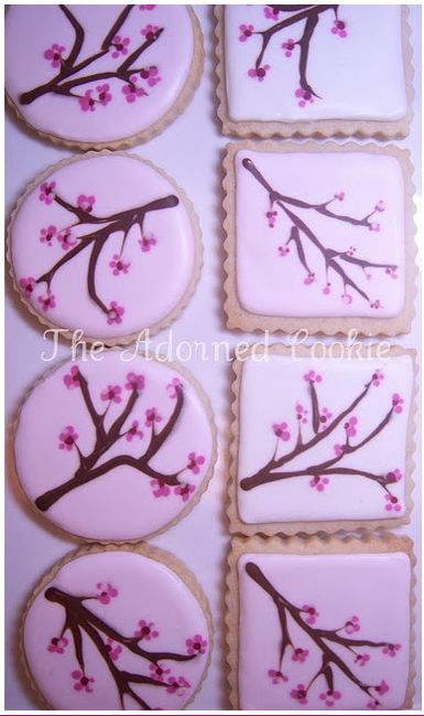 Cherry Blossom Cookies by:  The Adorned Cookie  SEE:    http://theadornedcookie.blogspot.com/  SEE:    https://www.facebook.com/pages/The-Adorned-Cookie/105935282832641